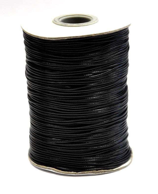 Voskovaná šňůra lesklá 1 mm, 1m, černá