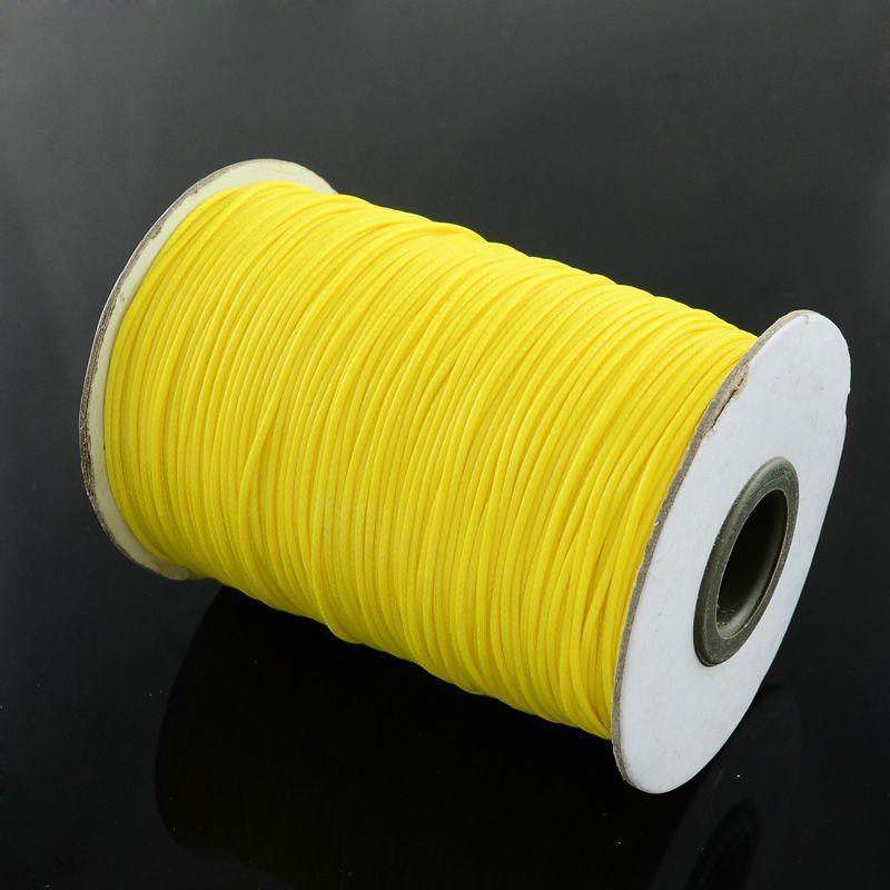 Voskovaná šňůra lesklá 1 mm, 1m, neonově žlutá