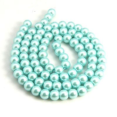 Voskované perle 4 mm , 216 ks - aqua