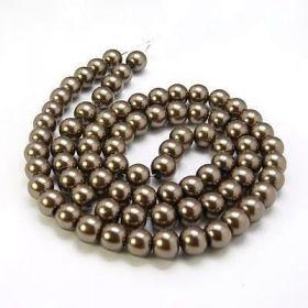 Voskované perle 4 mm, 216 ks, světle hnědé