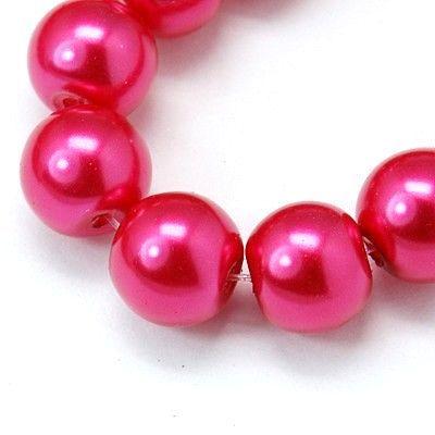 Voskované perle 3 mm, 230 ks, tmavě růžová