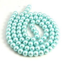 Voskované perle 6 mm, 140 ks, aqua