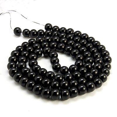 Voskované perle 6 mm , 140 ks - černá