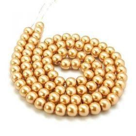 Voskované perle 6 mm ,  140 ks - zlatá