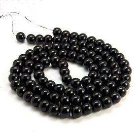 Voskované perle 8 mm,  110 ks, černá