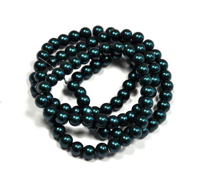 Voskované perle 8 mm, 110 ks, petrolejově zelená