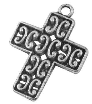 Zdobený kříž 22 mm, 20 ks, starostříbrná