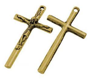 Křížek s ježíšem 36x19 mm, 20 ks, antik zlatá