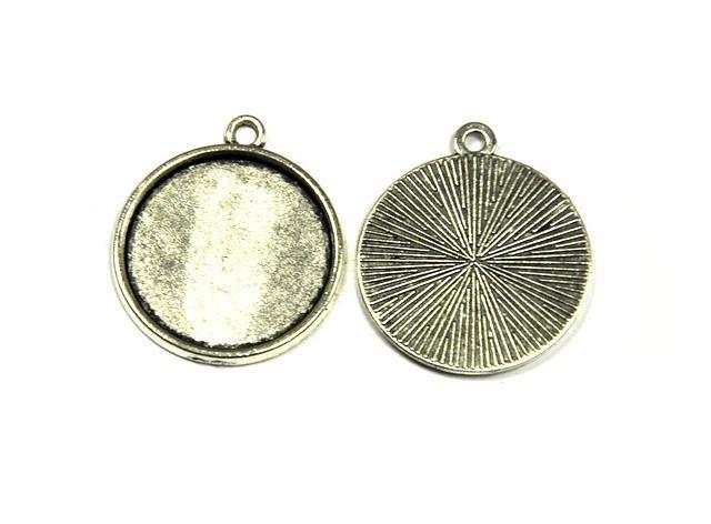 Přívěsek s očkem 23 mm s lůžkem 20 mm, 10 ks, starostříbro