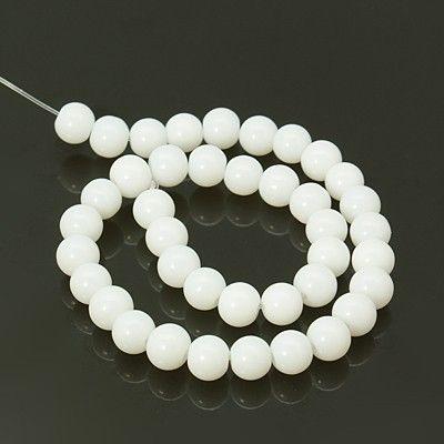 Skleněné hladké korálky 8 mm, 40 ks, bílá