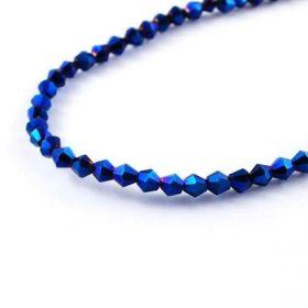 Skleněné sluníčko 4x4 mm, 115 ks, modrý pokov