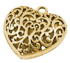 Srdce velké 36 mm, antik zlatá