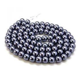 Voskované perle 8 mm , 110 ks - antracitová
