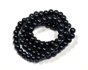 Voskované perle 8 mm , 110 ks - modročerná