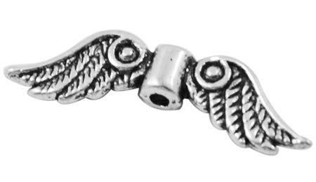 Křídla anděla 23x7 mm, 50 ks, starostříbrná barva