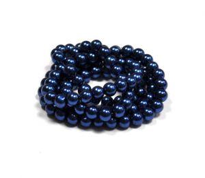 Voskované perle 6 mm , 140 ks - kobaltově modrá