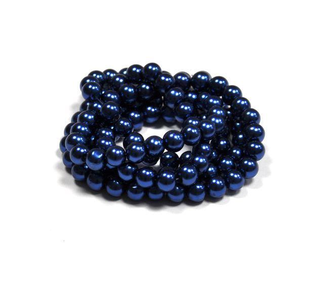 Voskované perle 4 mm , 216 ks - kobaltově modrá