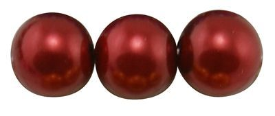 Voskované perle 6 mm, 140 ks, tmavě červená
