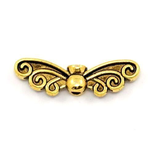 Křídla anděla zdobená 22x6x4 mm, 50 ks, antik zlatá