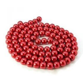 Voskované perle 6 mm,140 ks, červené