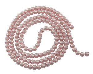Voskované perle 6 mm,140 ks, světle růžová