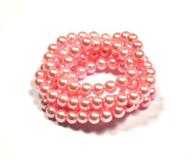 Voskované perle 6 mm,140 ks, středně růžová