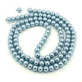 Voskované perle 8mm, 110 ks, světle modrá