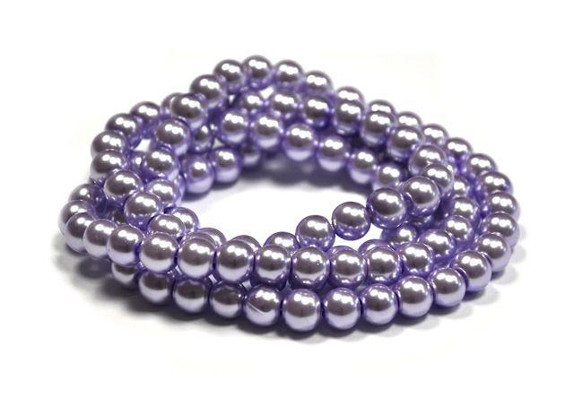 Voskované perle 6 mm, 140 ks, světle fialová