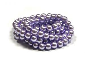 Voskované perle 8 mm, 110 ks, světle fialová