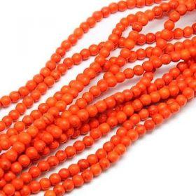 Tyrkys, syntetický, kulička 6 mm, 67 ks, oranžová