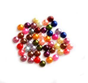 Akrylové kabošony 7 mm - imitace perly, 50 ks, mix barev