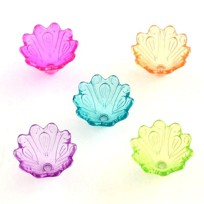 Akrylové zvonky 15x10 mm, 20 ks, mix barev