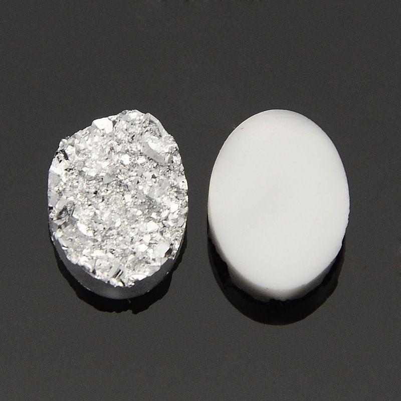 Kabošon z pryskyřice 14x10 mm, stříbrný