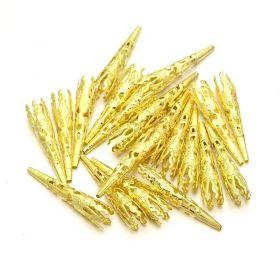 Kaplík dlouhý zdobený 42x8 mm, 2 ks, zlatý