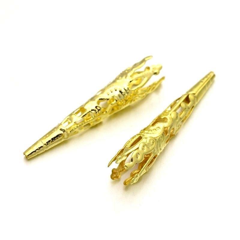 Kaplík dlouhý zdobený 42x8 mm, 20 ks, zlatý