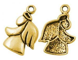 Přívěsek anděla 24x16 mm, 20 ks, antik zlatá