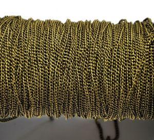 Řetízek 3x2 mm, plochý, broušený - 1 m, starozlatý