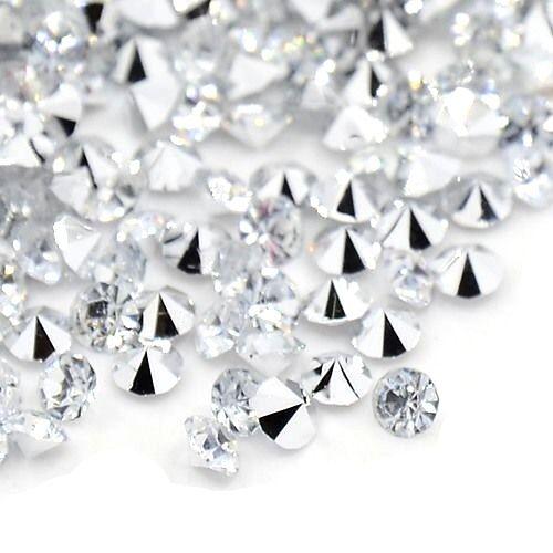 Šatony kvality AAA 2,5 mm, 100 ks, krystal se stříbrným pokovem