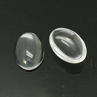 Skleněný kabošon 18x13 mm, 10 ks, čirý