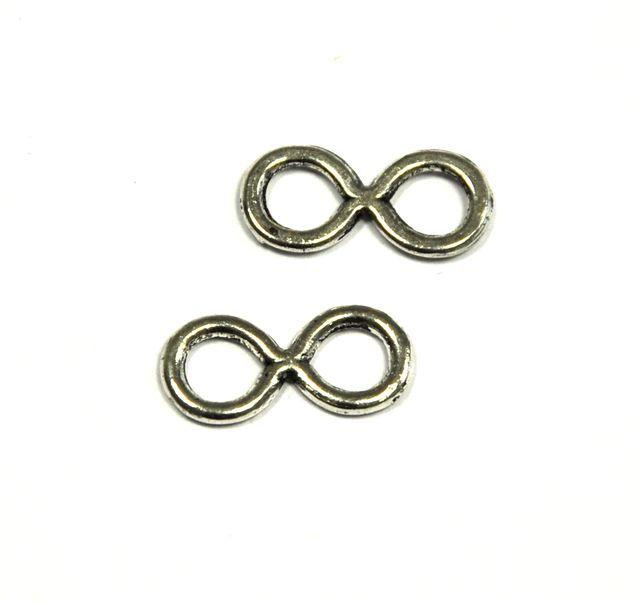 Spojovací díl Infinity malý, 17x8 mm, 20 ks, starostříbro