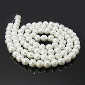 Voskované perle 10 mm, 85 ks, bílé