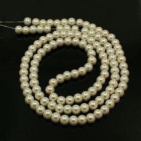 Voskované perle 10 mm, 85 ks, smetanové