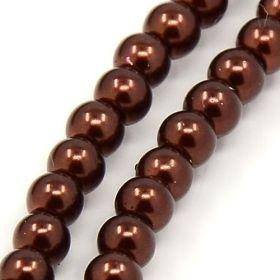 Voskované perle 6 mm, 140 ks - hnědá