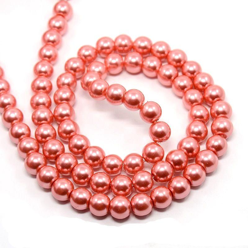 Voskované perle 8 mm,110 ks, červenorůžové