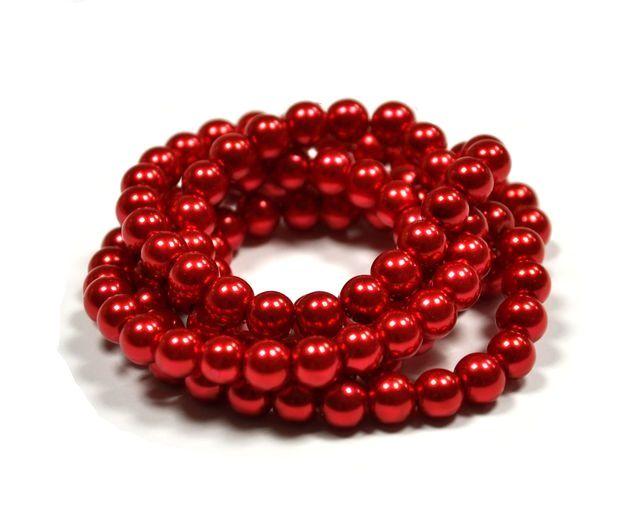 Voskované perle 8 mm , 110 ks - jasně červené