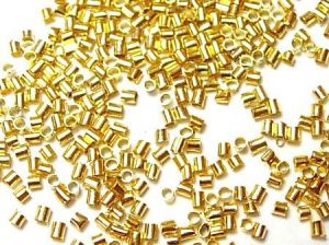 Zamačkávací rokajl trubičky 1,5 mm, 100 ks, zlatý