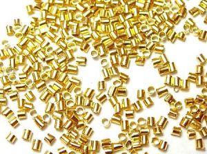 Zamačkávací rokajl trubičky 1,5 mm, 500 ks, zlatý