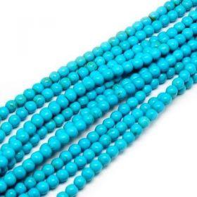 Tyrkys, syntetický, kulička 6 mm, 67 ks, modrá