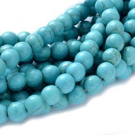 Tyrkys, syntetický, kulička 8 mm, 50 ks, modrá s kresbou