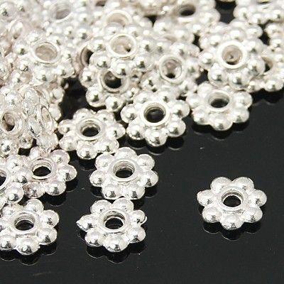 Květ 6 mm, 10 ks, stříbrný